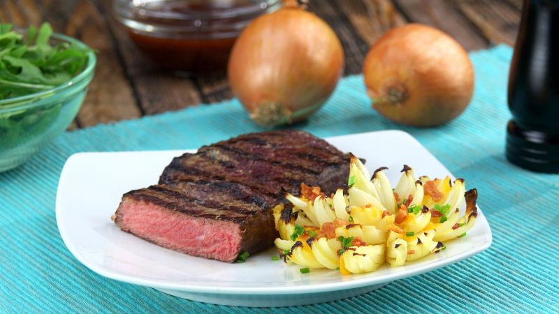 Grilled Steak with Onion Flowers