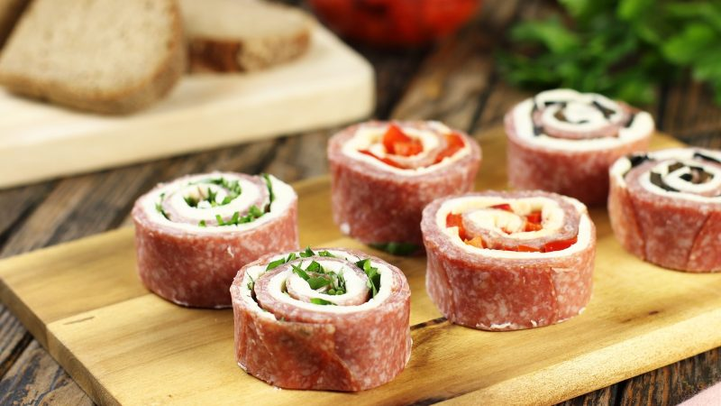 Salami Cream Cheese Rolls