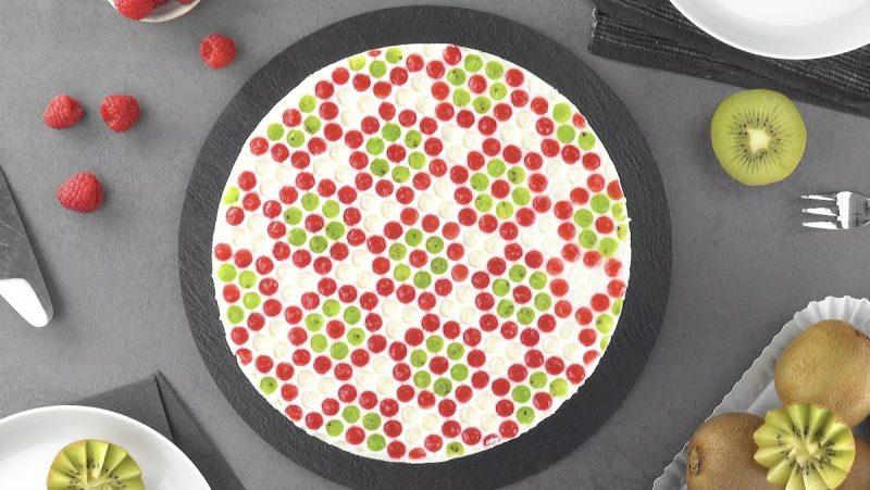 Raspberry Kiwi Lime Jello Bubble Wrap Cheesecake