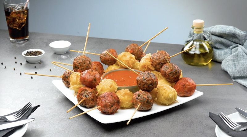 Fried Spaghetti & Meatballs On A Stick