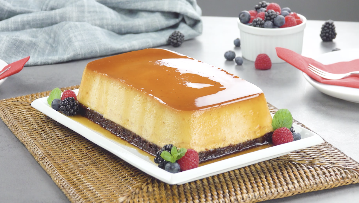 Caramel Flan Loaf With A Chocolate Base