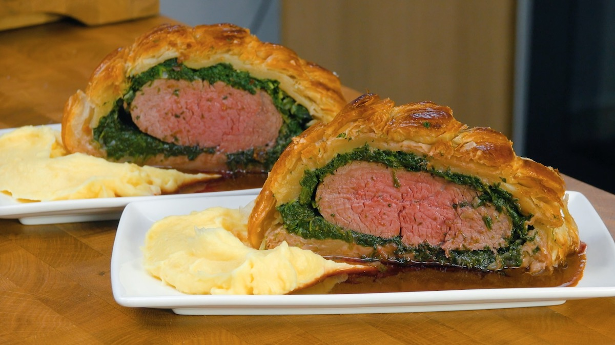 Beef Wellington With Garlic Sautéed Spinach Wrapped In Puff Pastry