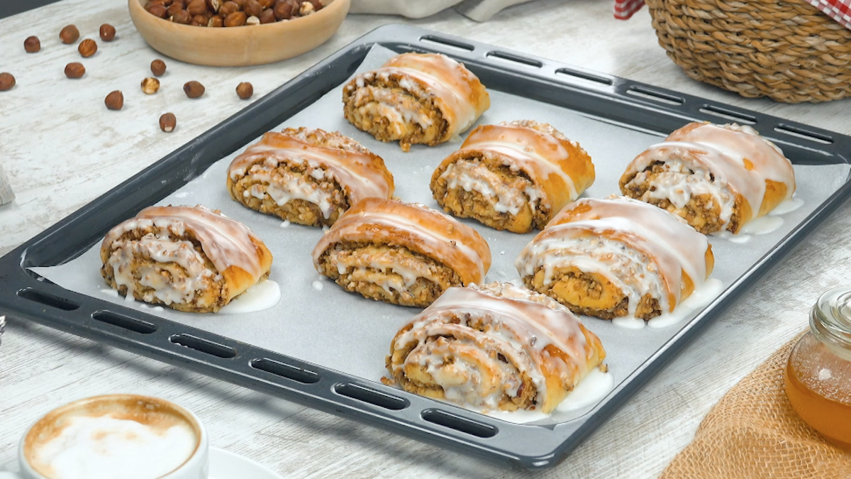 Pillowy German Nut Rolls With A Hazelnut Filling And Lemon Icing
