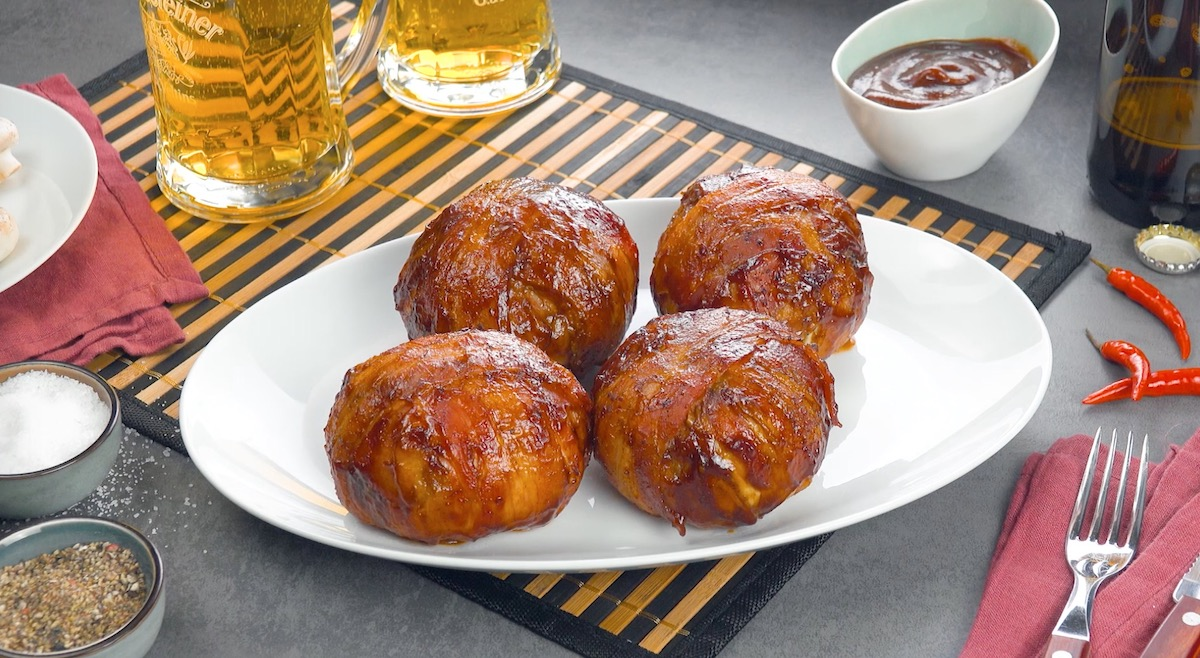 BBQ Bacon Onion Bombs With A Cheesy Ground Beef Center