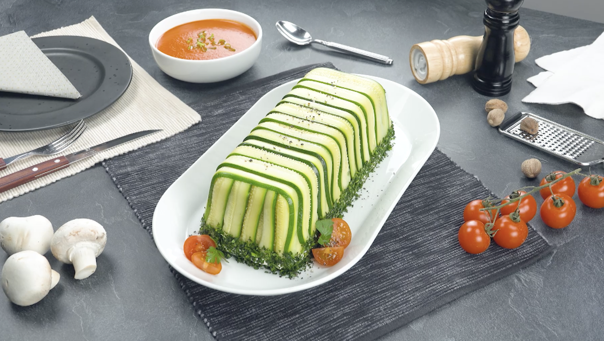 Vegetable Terrine With Zucchini, Broccoli, And Carrots In A Mushroom Cream
