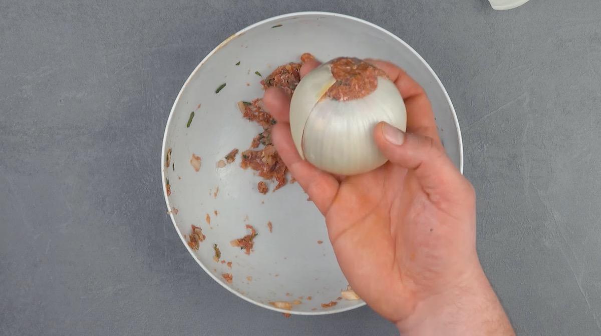 Ground Beef-Stuffed Onions