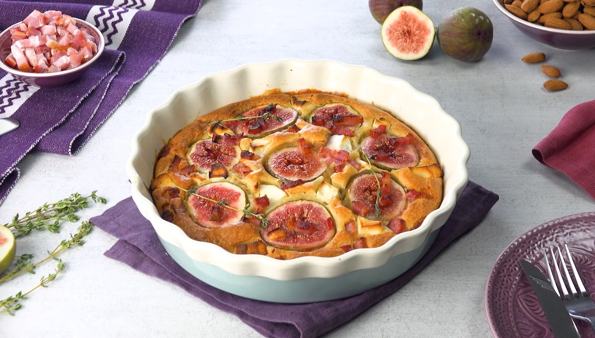 Fig, Goat Cheese, And Bacon Clafoutis