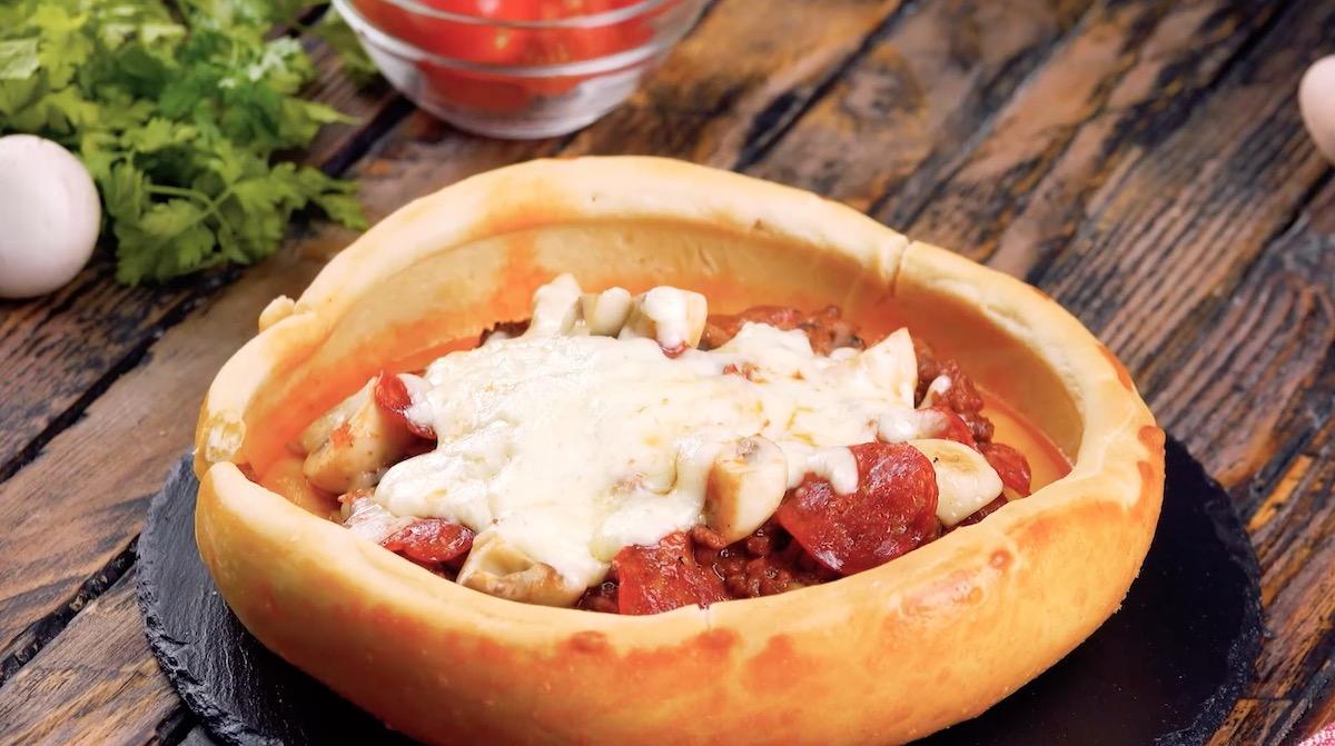 Salami Mushroom Pizza Bowl