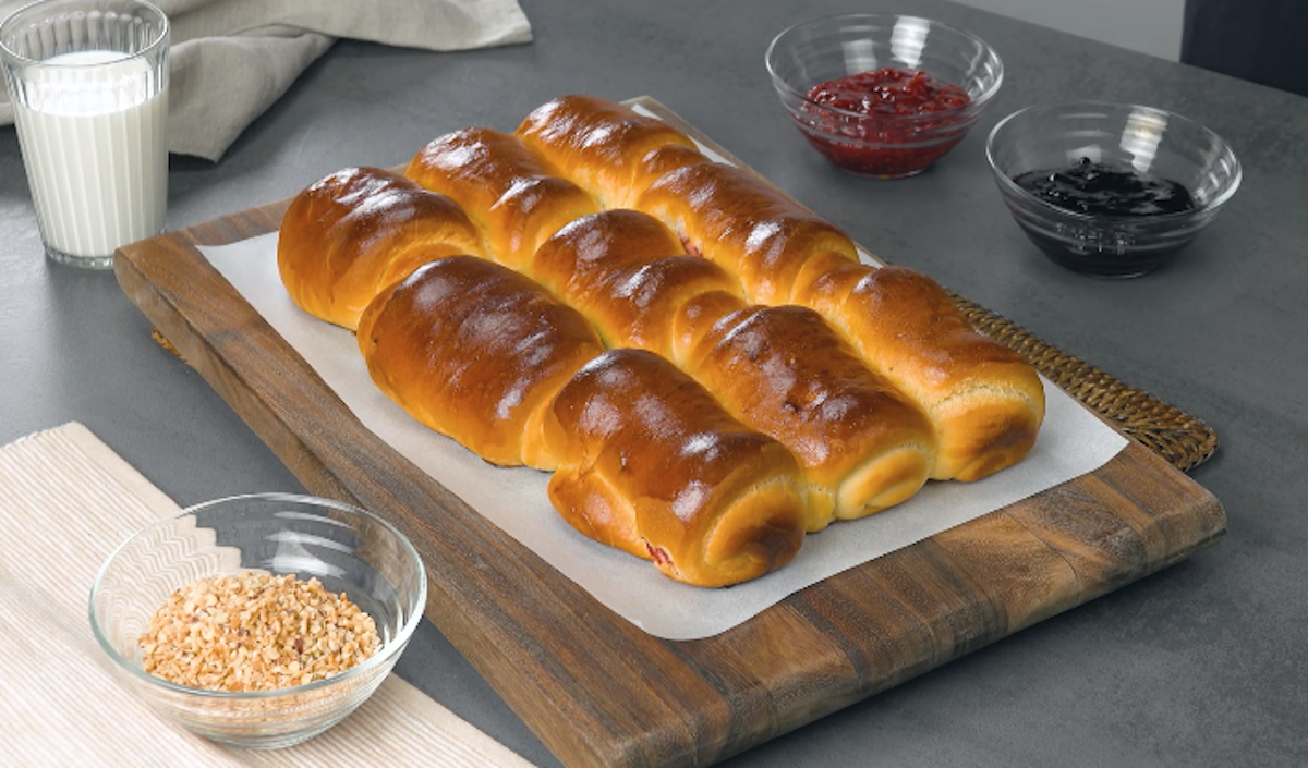 Sweet Milk Bread Rolls Filled With Fruity Jam And Hazelnuts