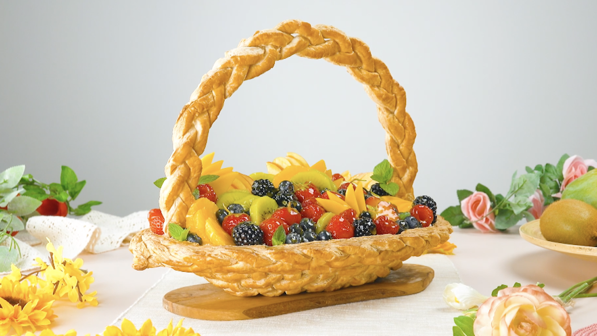 Edible Puff Pastry Basket Filled With Fresh Fruit And Mascarpone Cream