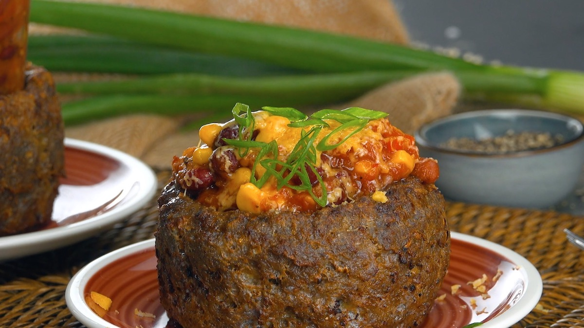 Hearty Chili Served In A Tasty Ground Beef Bowl