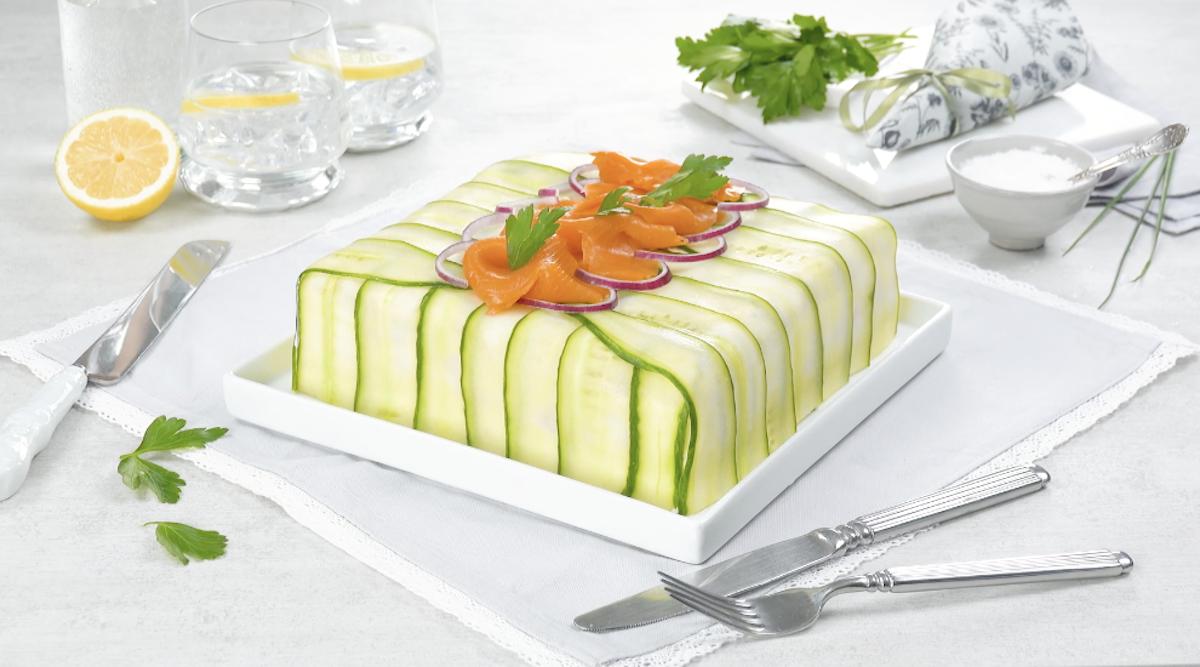 Creamy Smoked Salmon Sandwich Cake With Beet And Egg Salads