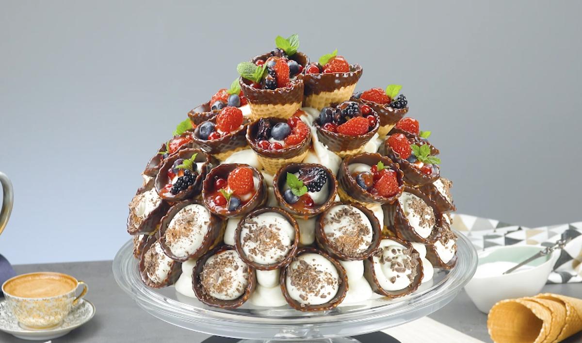 Waffle Cone Cake With Wild Berries And Chocolate Ganache
