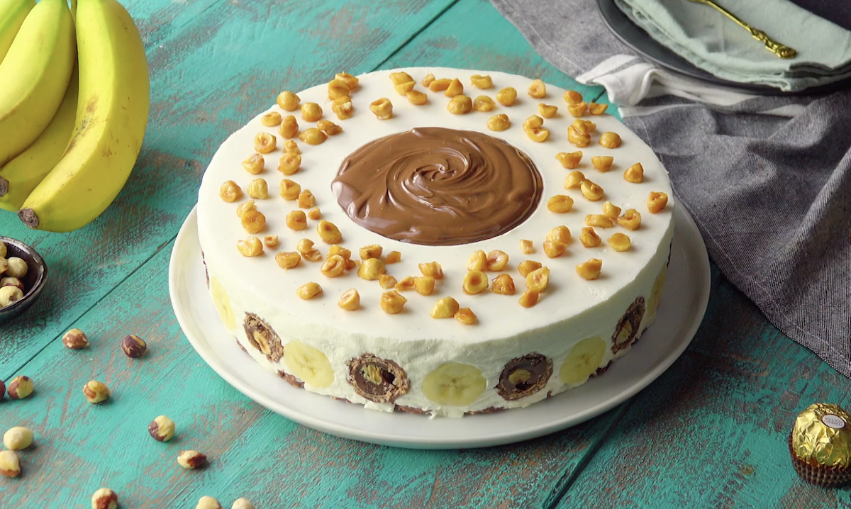 Banana Hazelnut Cream Cake