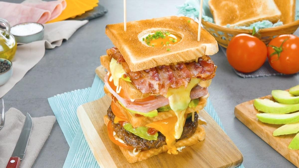Egg-In-A-Hole Breakfast Sandwich Tower