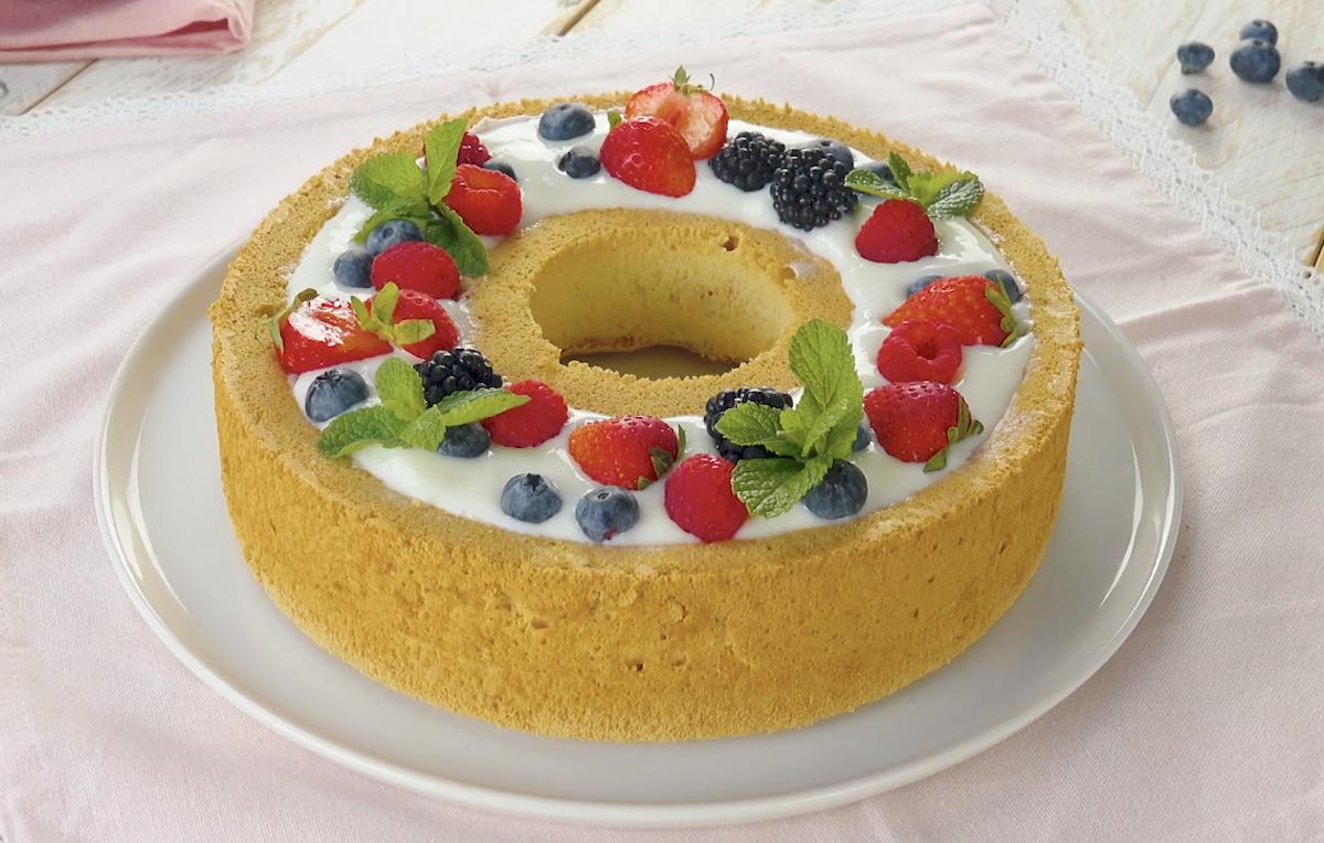 Berries & Cream Angel Food Cake