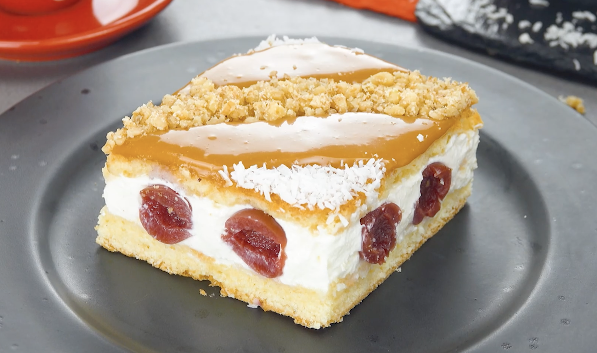 Cherry Caramel Cake With A Cream Cheese Filling
