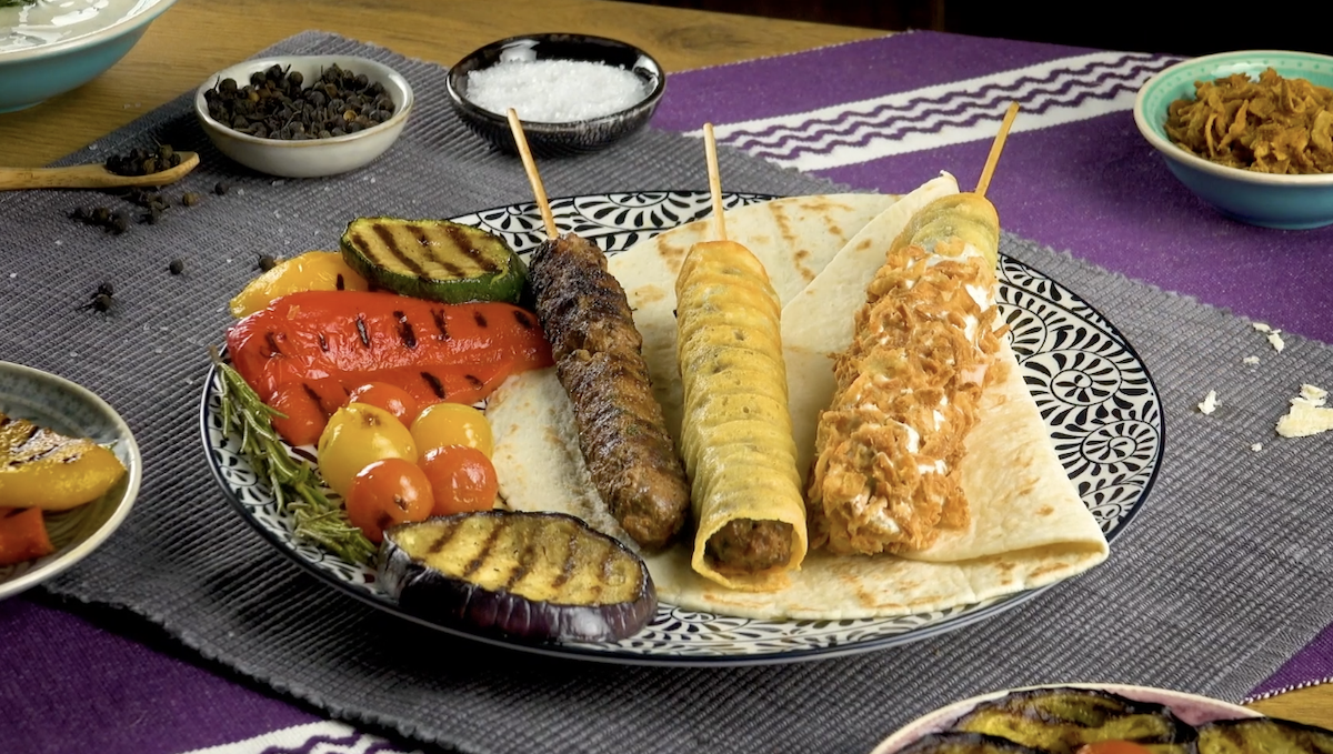 Beef Shish Kabobs Wrapped In Cheese
