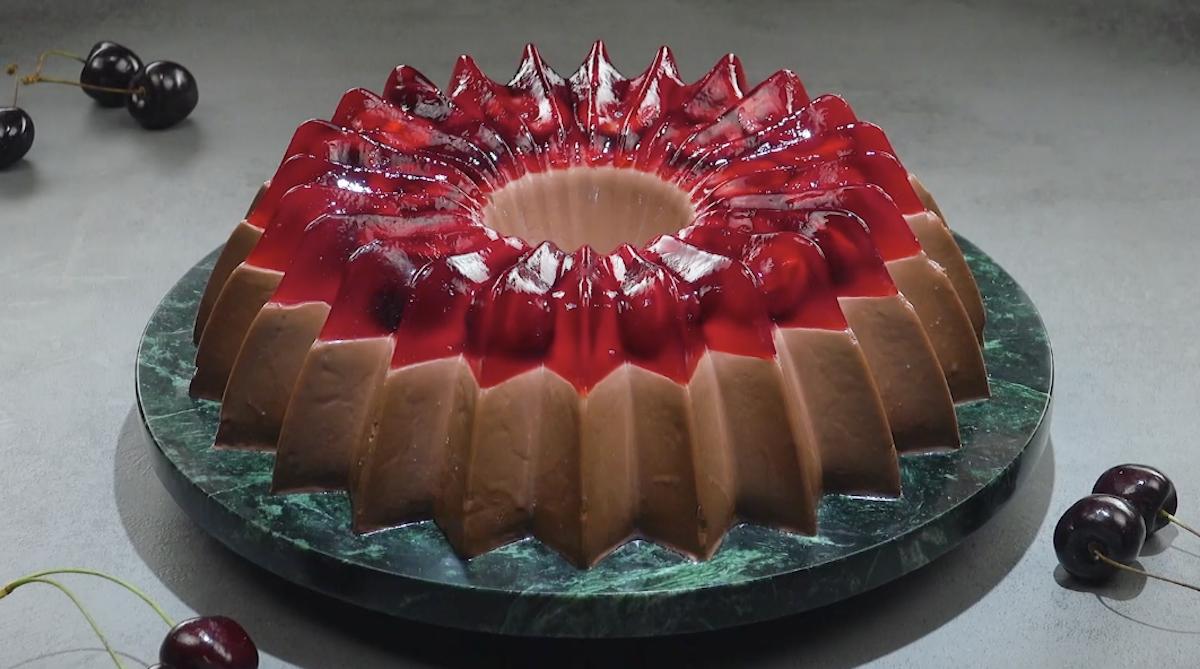 Chocolate Pudding & Cherry Jello Cake