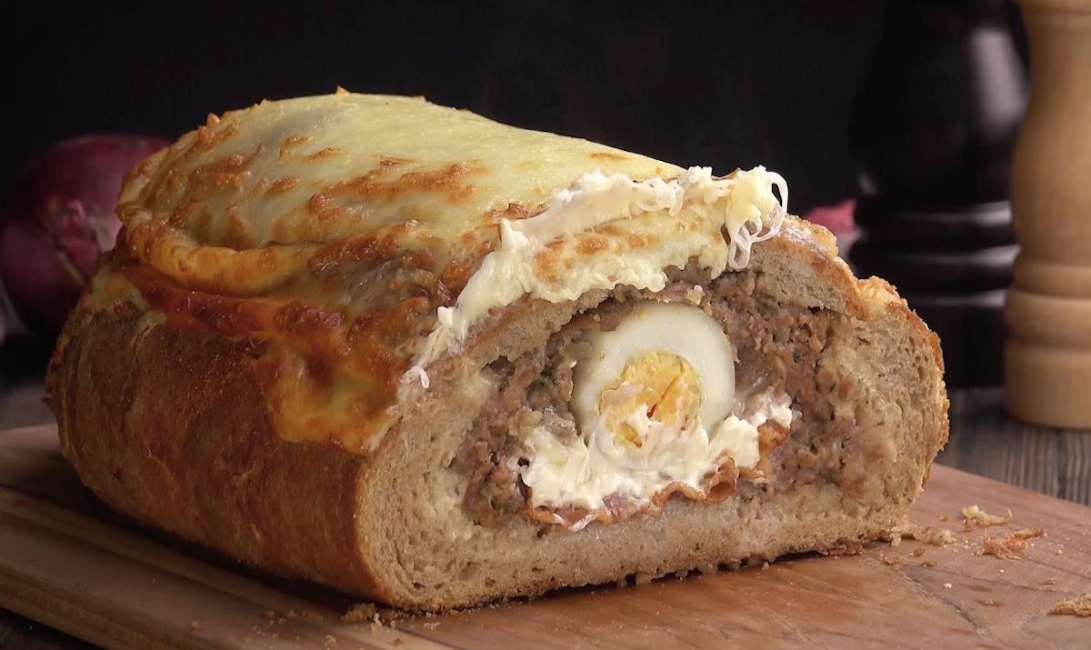 Stuffed Meatloaf Baked In Bread
