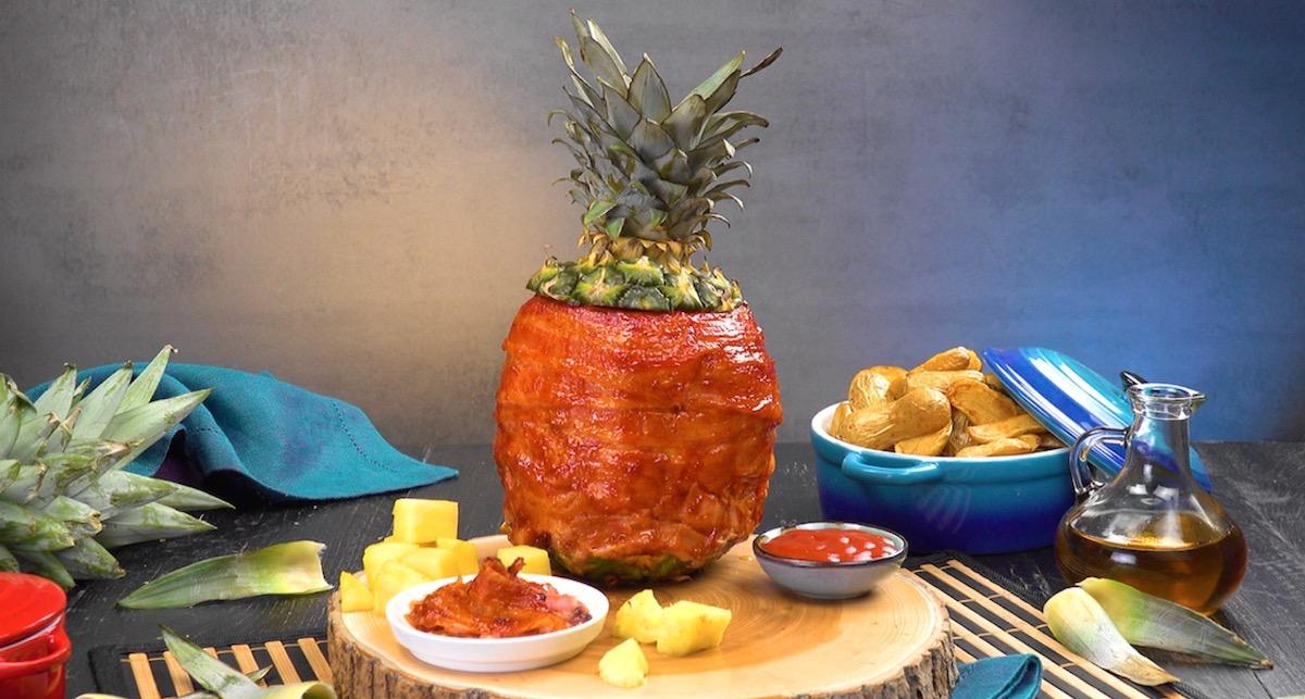 Swineapple:BBQ Bacon Pineapple Stuffed With Marinated Chicken