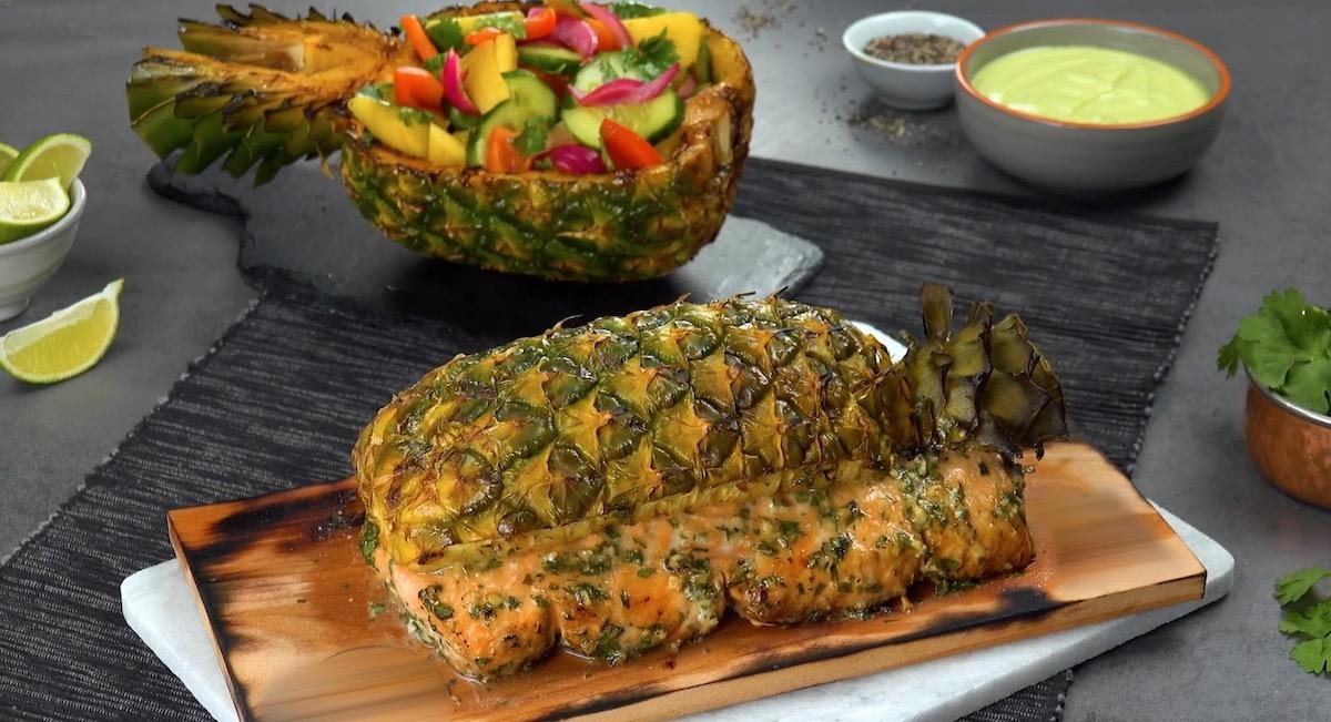 SmokyGrilled Salmon & Pineapple