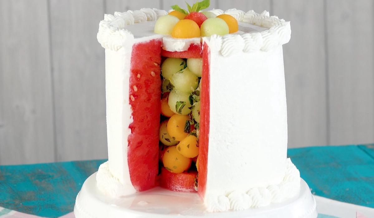 Melon-Stuffed No-Bake Cake