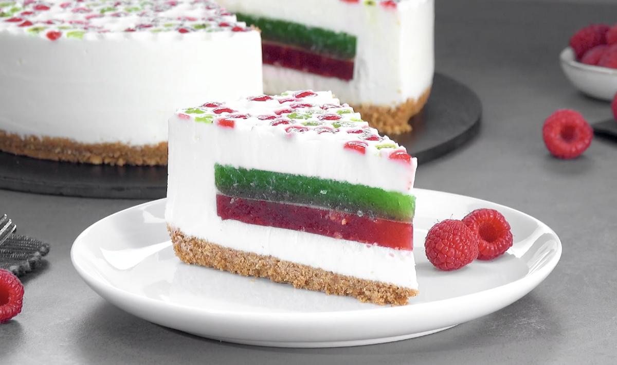 Yogurt Bubble Wrap Cheesecake With Fruity Jello Layers